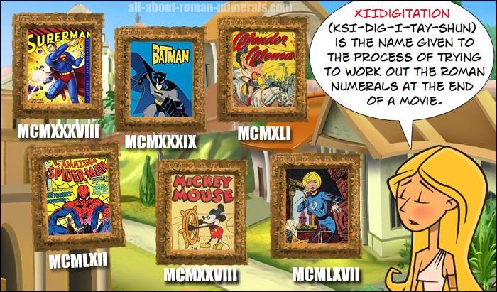 roman numerals super heroes