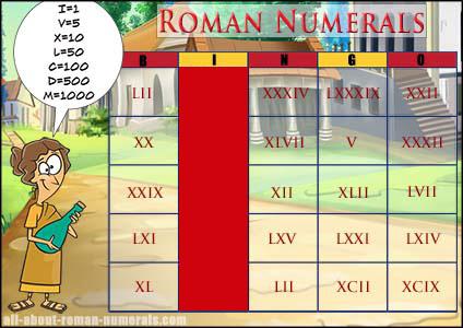 roman numerals bingo