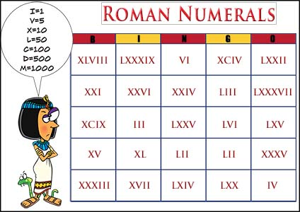 Roman Numerals Bingo Game